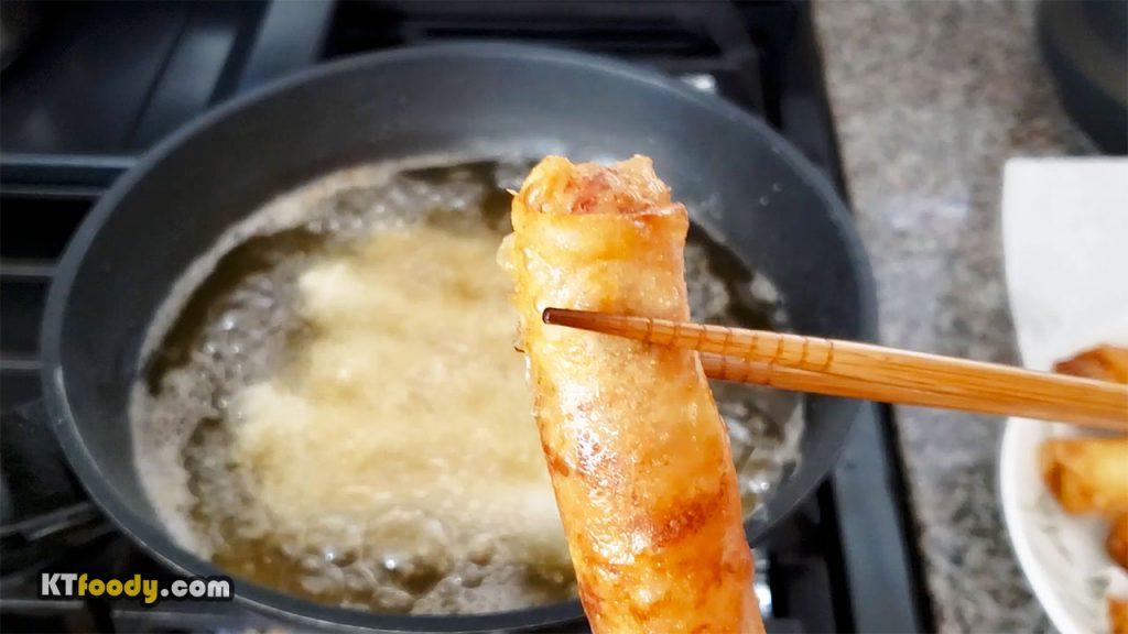 Egg Rolls - Showing fried egg roll