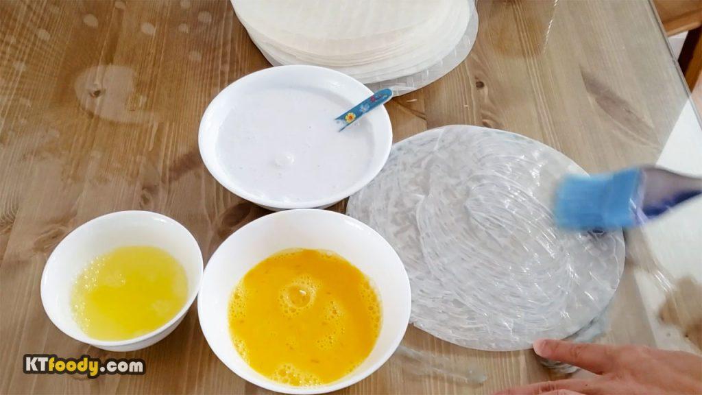 Egg roll recipe - brushing rice paper