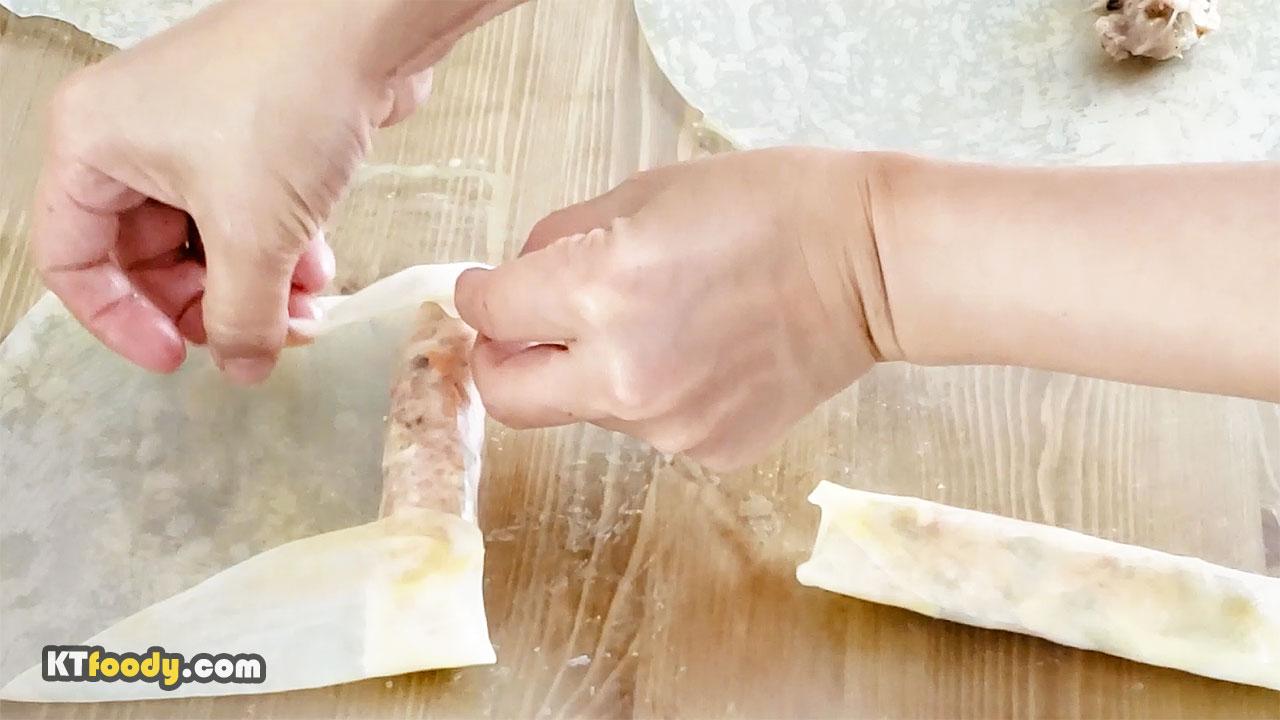 Egg Rolls recipe. Rolling part2