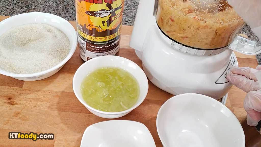 Viet Dipping Sauce - grinding chilies and sugar