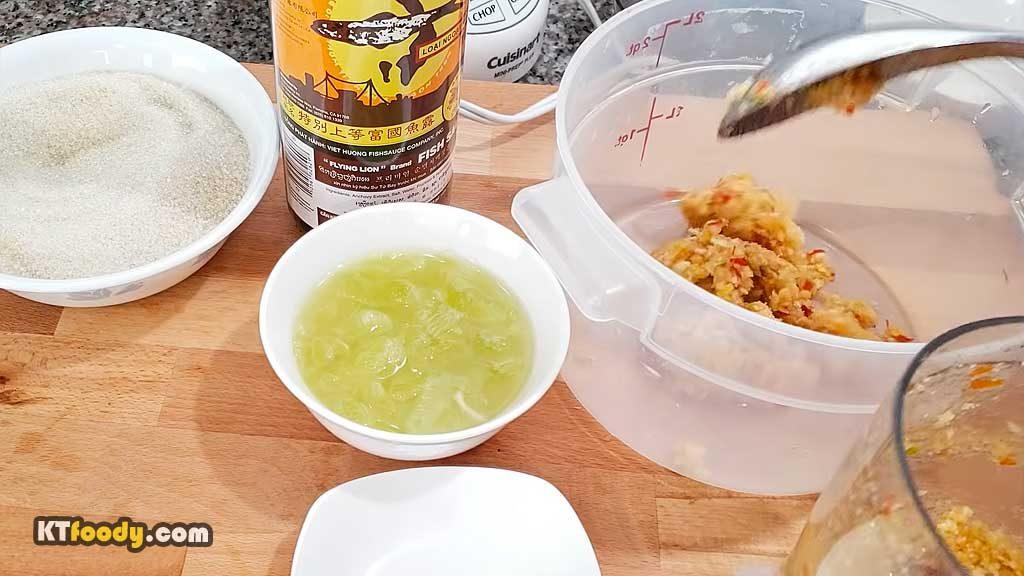 Viet Dipping Sauce - placing mix into bowl