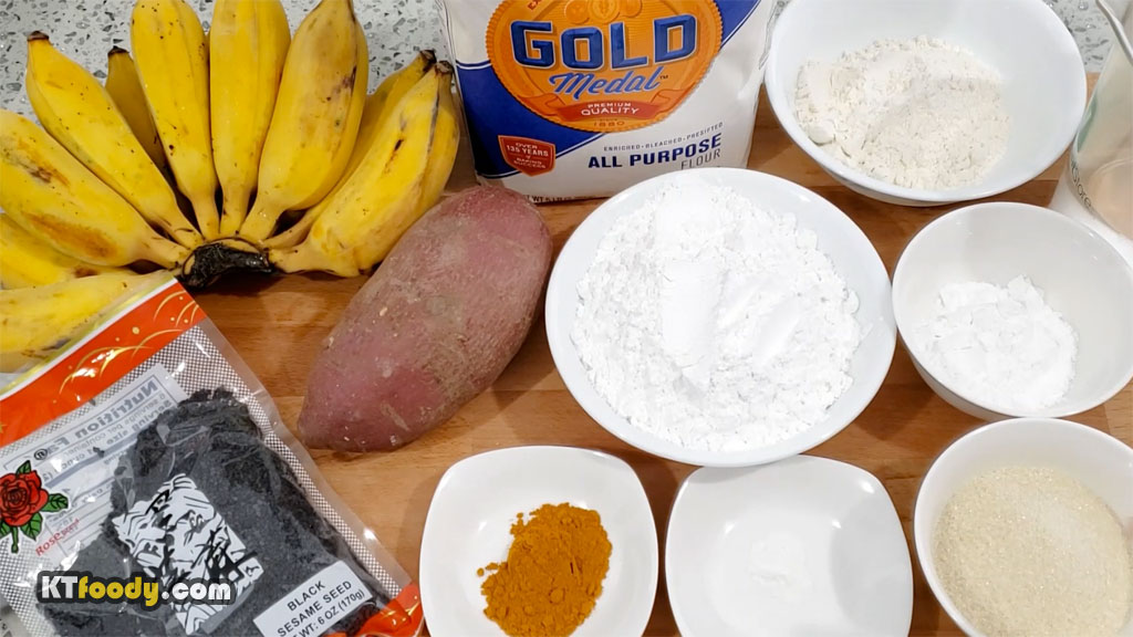 Fried banana ingredients