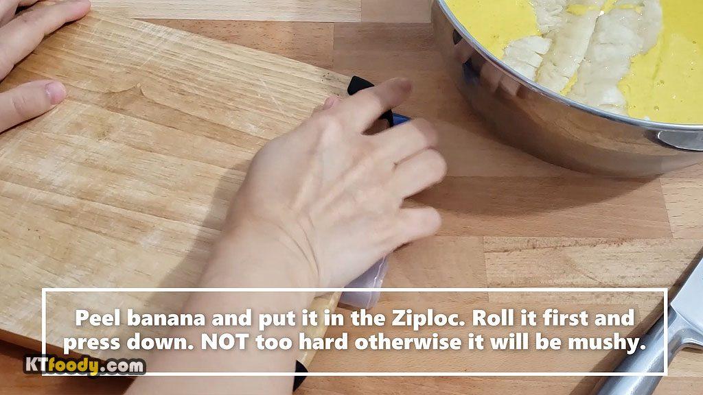 fried banana pressing banana