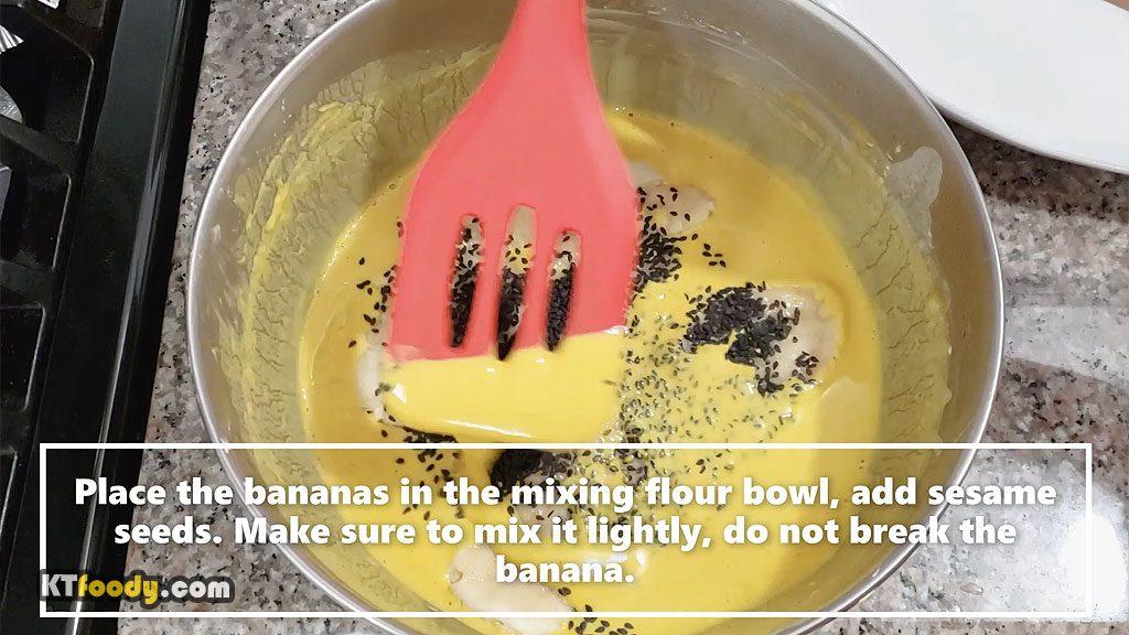 fried banana dipping in batter