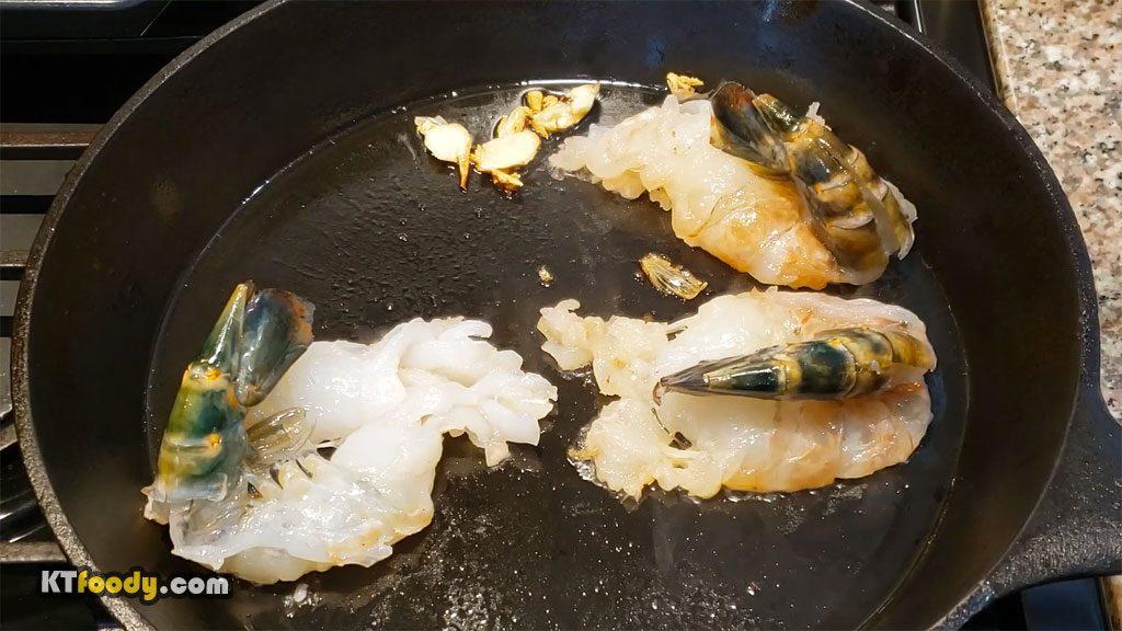 Garlic Noodle searing shrimp 1