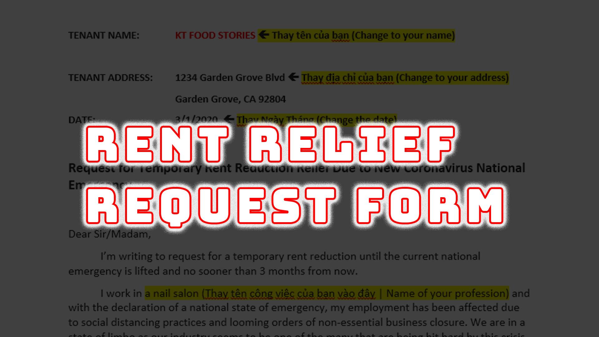 Rent Relief Template
