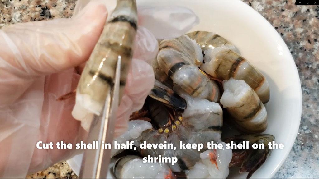 garlic prawn - cut